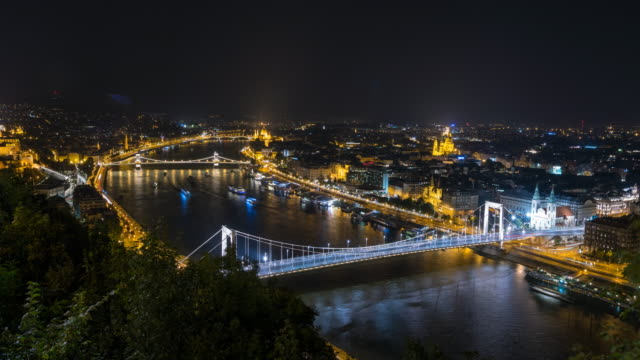 city of budapest at night - budapest stock videos & royalty-free footage