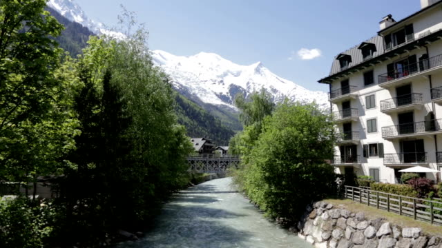 city of chamonix in summer, france - mont blanc stock videos & royalty-free footage