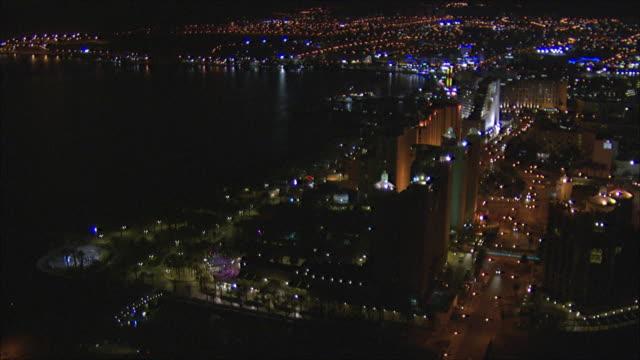 aerial ws city of eilat at night, arava, israel - アラバ砂漠点の映像素材/bロール