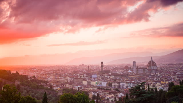 City of Florence, Italy at sunset