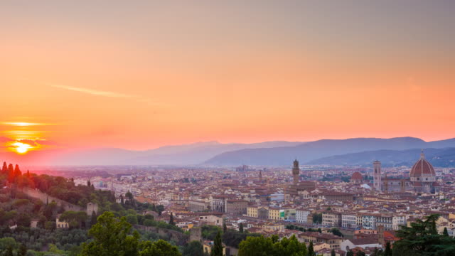 city of florence, italy at sunset - duomo santa maria del fiore stock videos and b-roll footage