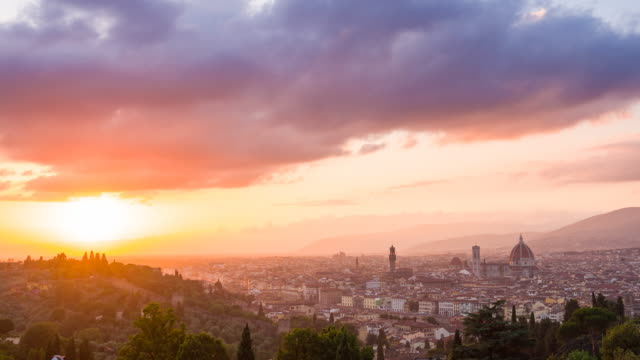 city of florence, italy at sunset - florence italy stock videos & royalty-free footage