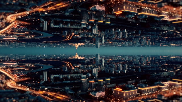 city of future aerial background. mirror effect - kaleidoscope pattern stock videos & royalty-free footage