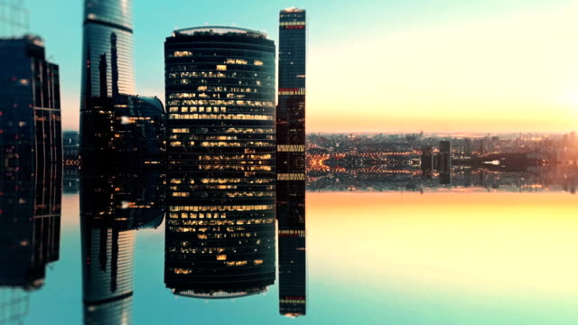 city of future aerial background. mirror effect - surrealism stock videos & royalty-free footage