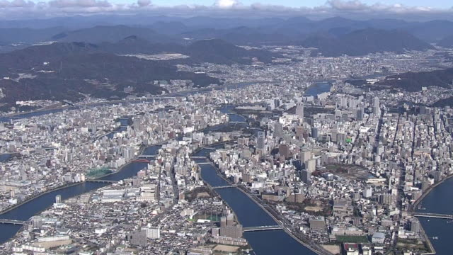 vidéos et rushes de aerial, city of hiroshima, japan - hiroshima prefecture