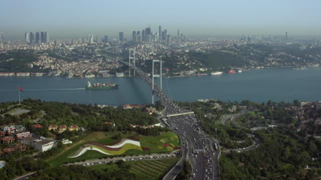 city of istanbul turkey with bosphorus bridge - bosphorus stock videos & royalty-free footage