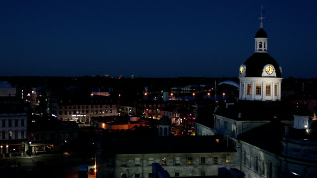 city of kingston, ontario, canada at night - ontario canada stock videos and b-roll footage