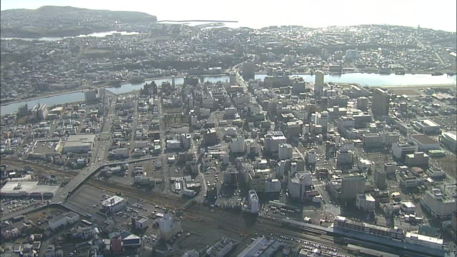 aerial, city of kushiro, hokkaido, japan - 50 seconds or greater stock videos & royalty-free footage