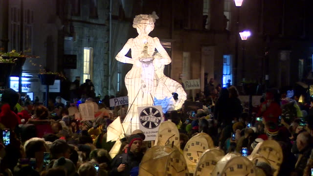 city of lights christmas lantern festival through the streets of truro cornwall - traditional festival stock videos & royalty-free footage