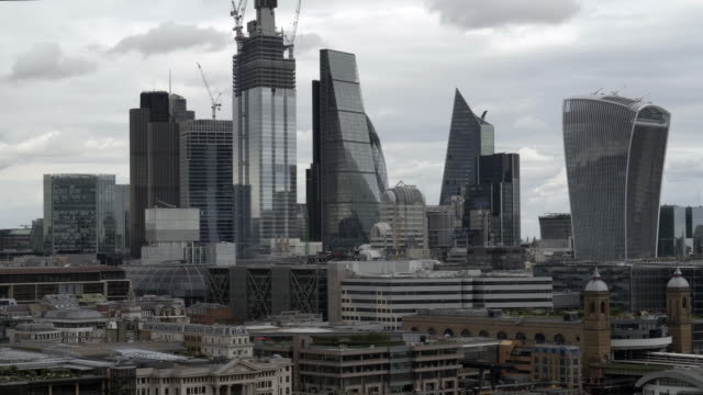 city of london and its skyscrapers from the southwest - station stock videos and b-roll footage