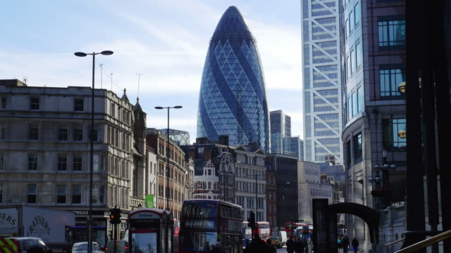 city of london and the gherkin from the north (uhd) - swiss re stock videos & royalty-free footage
