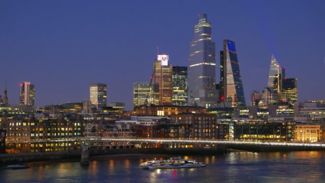 city of london and the river thames cityscape at night. - skyline stock videos & royalty-free footage
