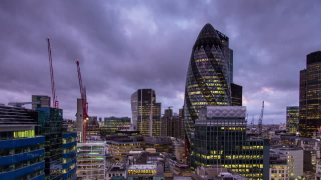 city of london at sunrise - time lapse - construction machinery stock videos & royalty-free footage