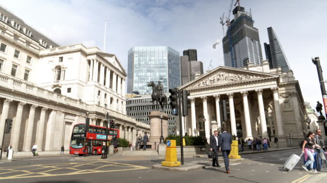 city of london bank junction - double decker bus stock videos & royalty-free footage