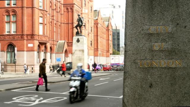 city of london boundary stone in high holborn - local landmark stock videos & royalty-free footage