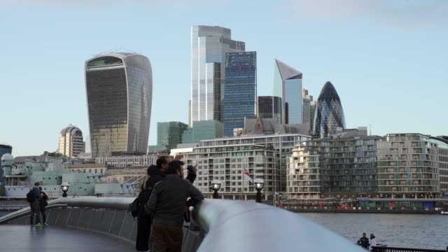 city of london business skyline from busy st. katherines dock, london, england, united kingdom, europe - boundary stock videos & royalty-free footage
