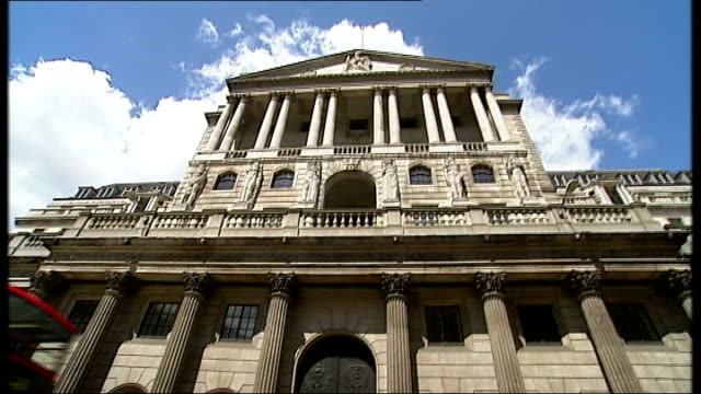 bank of england including good shots of details such as relief sculpture carvings on facade of two male figures by charles wheeler reporter to camera - charles wheeler stock videos & royalty-free footage