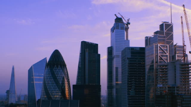 city of london financial district. dusk with clouds moving across the sky. - skyline stock videos & royalty-free footage