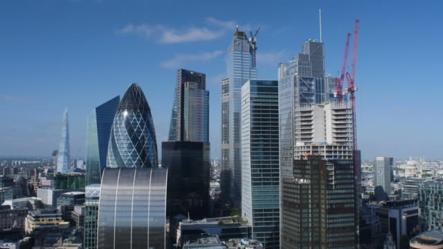 city of london financial district. early morning. - sir norman foster building stock videos & royalty-free footage