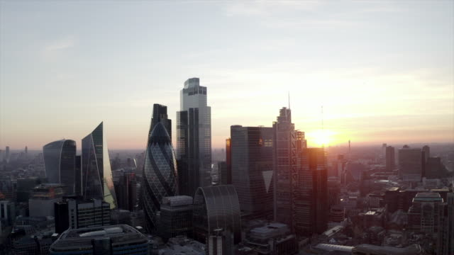 city of london, financial district, united kingdom - aerial view stock videos & royalty-free footage