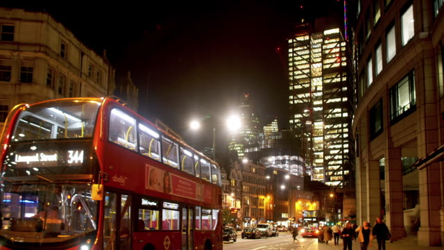 city of london from the north at night - central london stock videos & royalty-free footage
