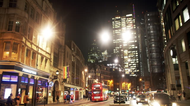 city of london from the north at night - double decker bus stock videos & royalty-free footage