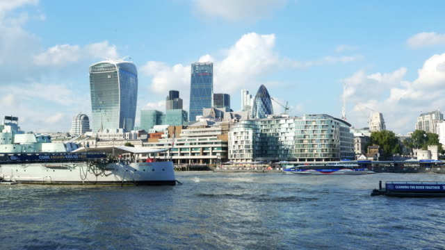 city of london from the south - river thames stock videos & royalty-free footage
