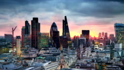 City of London. London's panorama at sun set.