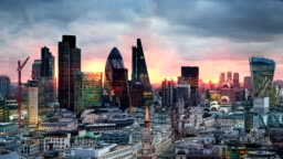City of London panorama at sun set.