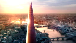 City of London, River Thames and Shard at sunset