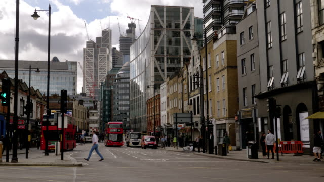 city of london seen from shoreditch - pedestrian crossing stock videos & royalty-free footage