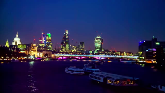 city of london skyline seen at night. - 2014 stock videos & royalty-free footage