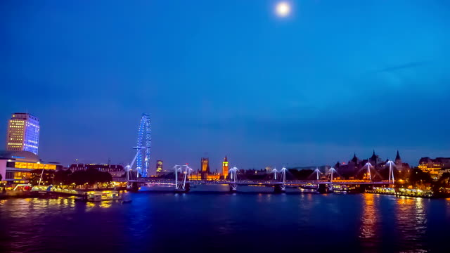city of london skyline seen at twilight from waterloo bridge. - millennium wheel stock videos & royalty-free footage