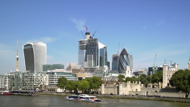 city of london skyscrapers and tower hill - tower of london stock videos & royalty-free footage
