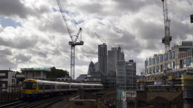 city of london skyscrapers from the north - train vehicle stock videos & royalty-free footage