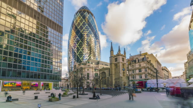 city of london timelapse. - swiss re stock videos & royalty-free footage