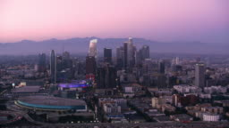 AERIAL City of Los Angeles at dusk