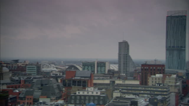 City of Manchester w/ Beetham Tower aka Hilton Manchester mixed use skyscraper PAN city WS Arndale Town Hall tower Mix of architecture