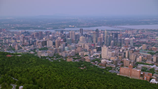 aerial city of montreal, quebec, from the mount royal at dusk - north america stock videos & royalty-free footage