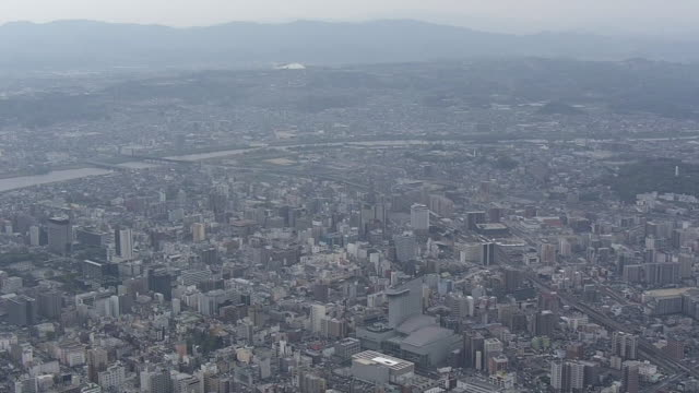 aerial, city of oita, japan - oita city stock videos & royalty-free footage