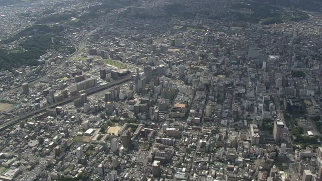 aerial, city of oita, oita, japan - oita city stock videos & royalty-free footage