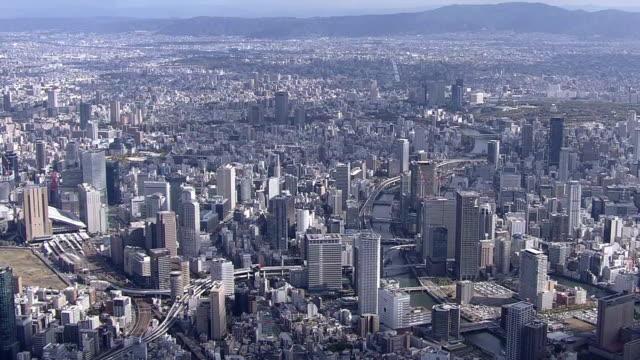 aerial, city of osaka, japan - 大阪駅点の映像素材/bロール