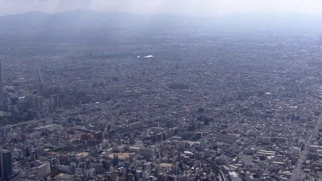aerial, city of osaka, japan - residential building点の映像素材/bロール