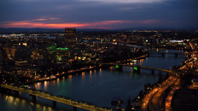 AERIAL City of Portland with Willamette River at night