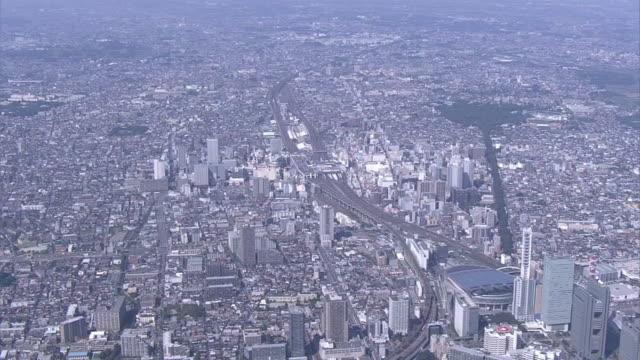 aerial, city of saitama, japan - saitama city stock videos & royalty-free footage