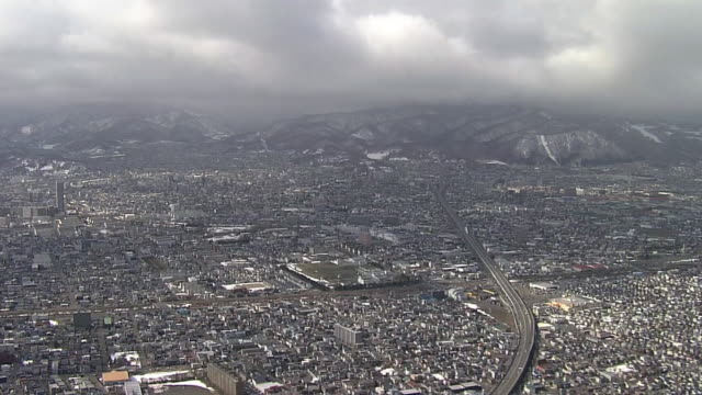 aerial, city of sapporo, hokkaido, japan - tilt down stock videos & royalty-free footage