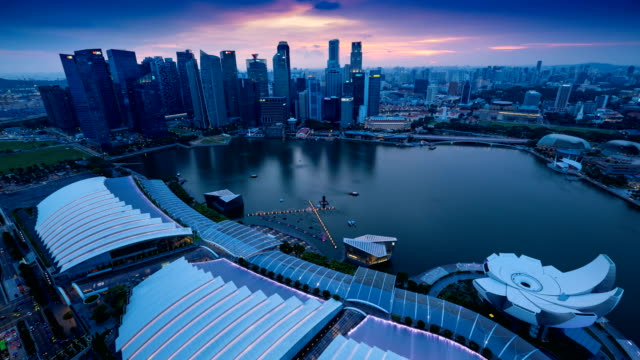 city of singapore at sunset,timelapse - marina bay singapore stock videos and b-roll footage