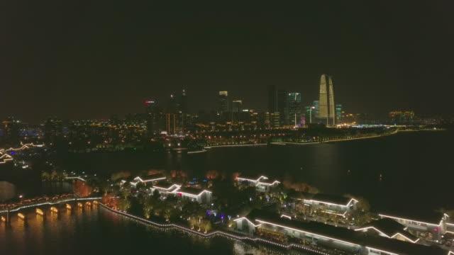 AERIAL WS City of Suzhou with Jinji Lake at night, Jiangsu Province, China