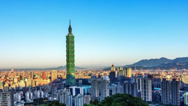 city of taipei at dawn from day to night, taiwan - taipei stock videos & royalty-free footage
