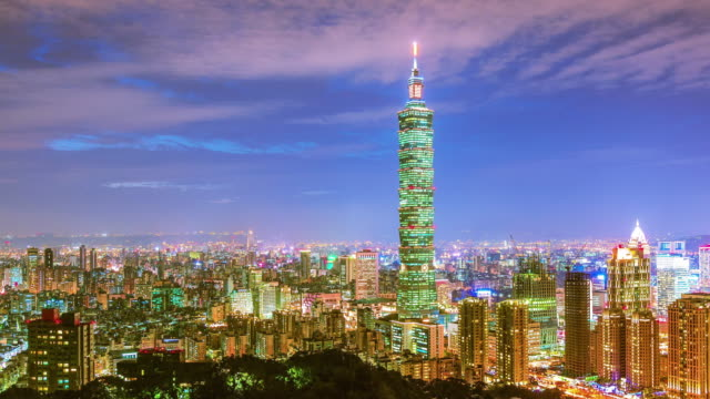 city of taipei at night - taiwan stock videos and b-roll footage